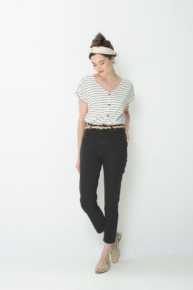 Tee shirt Manches Courtes Thilou Blanc Noir - T-shirt - Des Petits Hauts (37,5e)