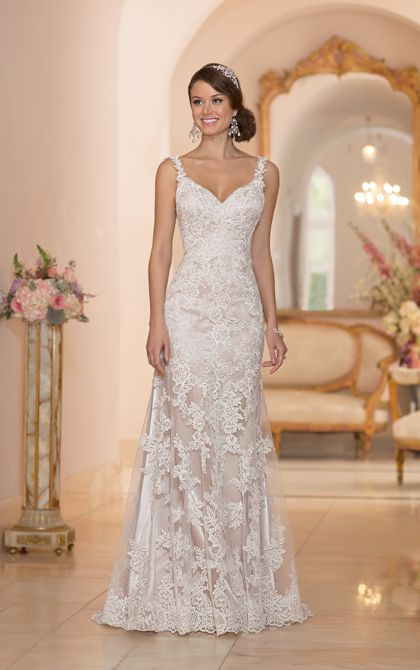Gorgeous, gorgeous lace over Lustre satin. And the back may be even better!  #2806