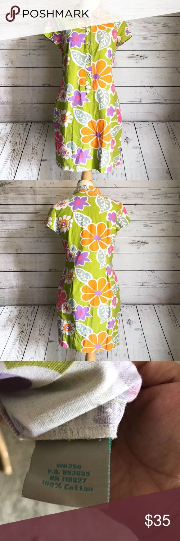 Boden Big Flower Floral T Shirt Shift Dress Excellent Condition  Has a slight fading effect almost like Linen But is cotton Has pockets Green is not as bright as in photo but still light green Boden Dresses