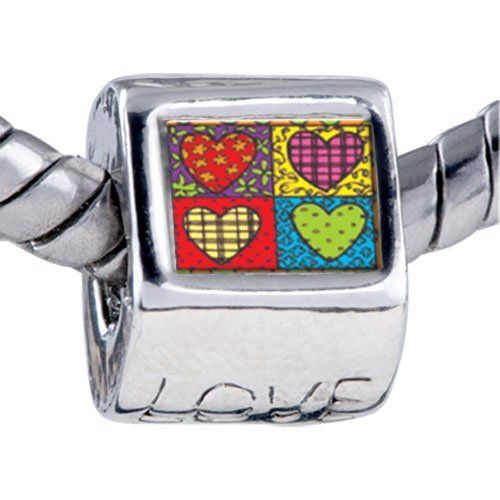 Pugster Bead Heart Quilt Beads Fits Pandora Bracelet Pugster. $12.49. Unthreaded European story bracelet design. It's the photo on the love charm. Hole size is approximately 4.8 to 5mm. Bracelet sold separately. Fit Pandora, Biagi, and Chamilia Charm Bead Bracelets