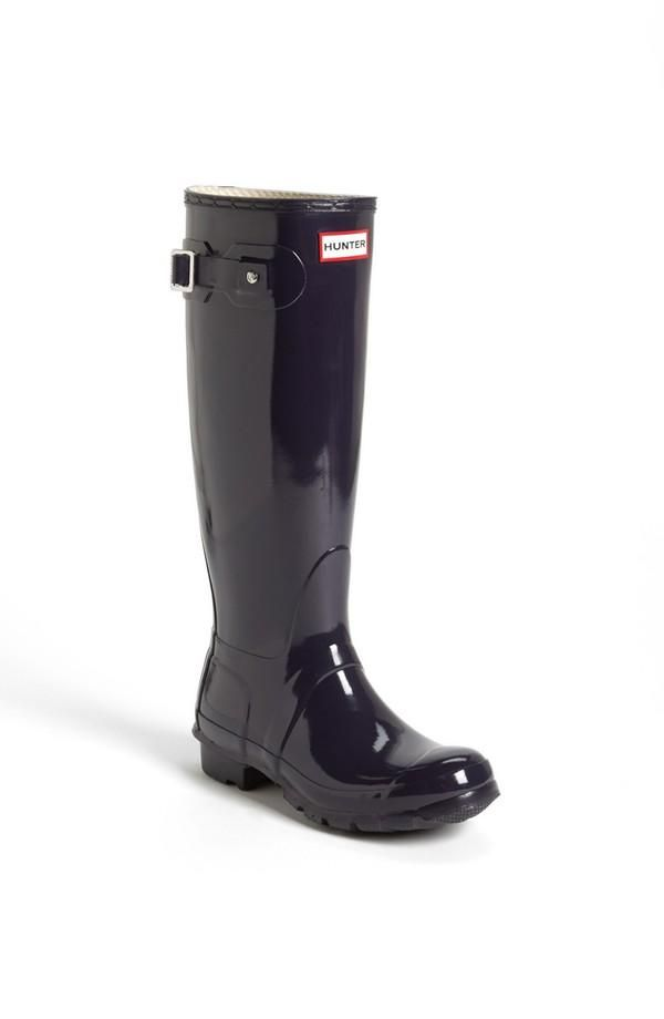 Glossy black rains boots from Nordstrom