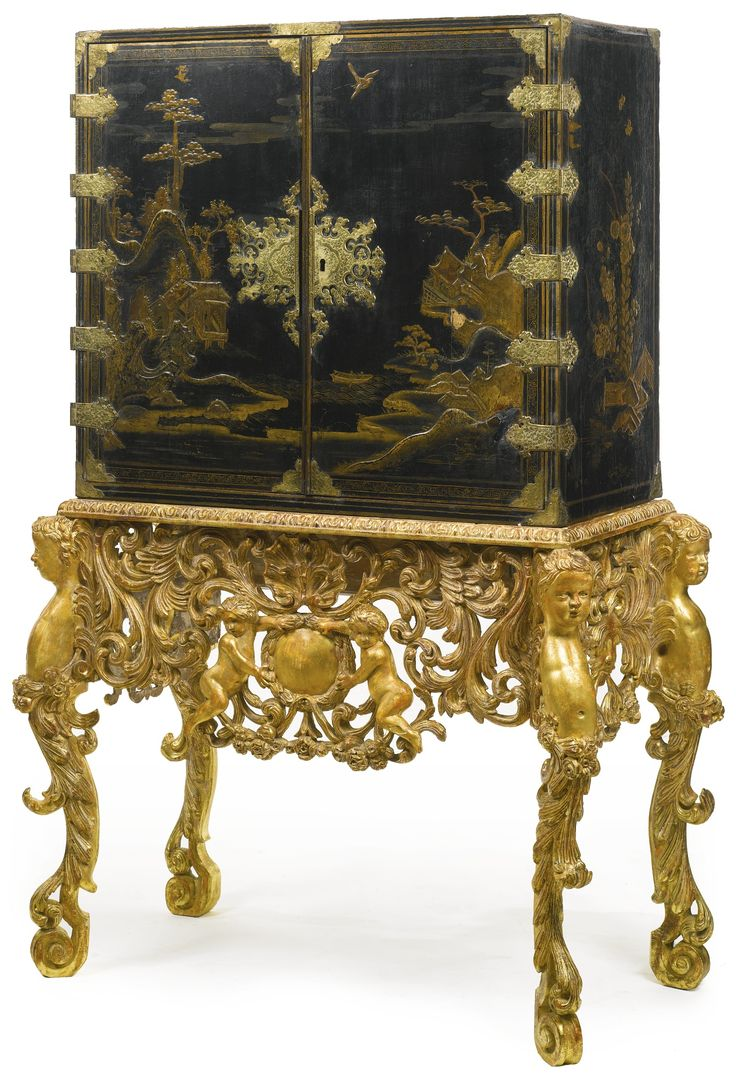A william and mary parcel gilt black japanned cabinet on later giltwood stand circa 1690 find this pin and more on furniture styles antique