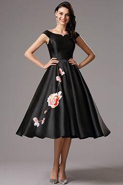 Off Shoulder Black Tea Length Dress Party Dress (04161100)