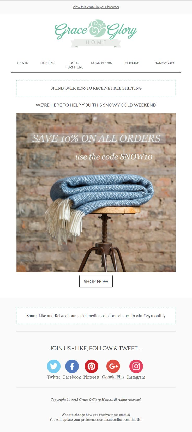 Snowy Weather email with discount code coupon from Grace & Glory #EmailMarketing #Email #Marketing #Weather #Snow #Coupon #Retail #Home