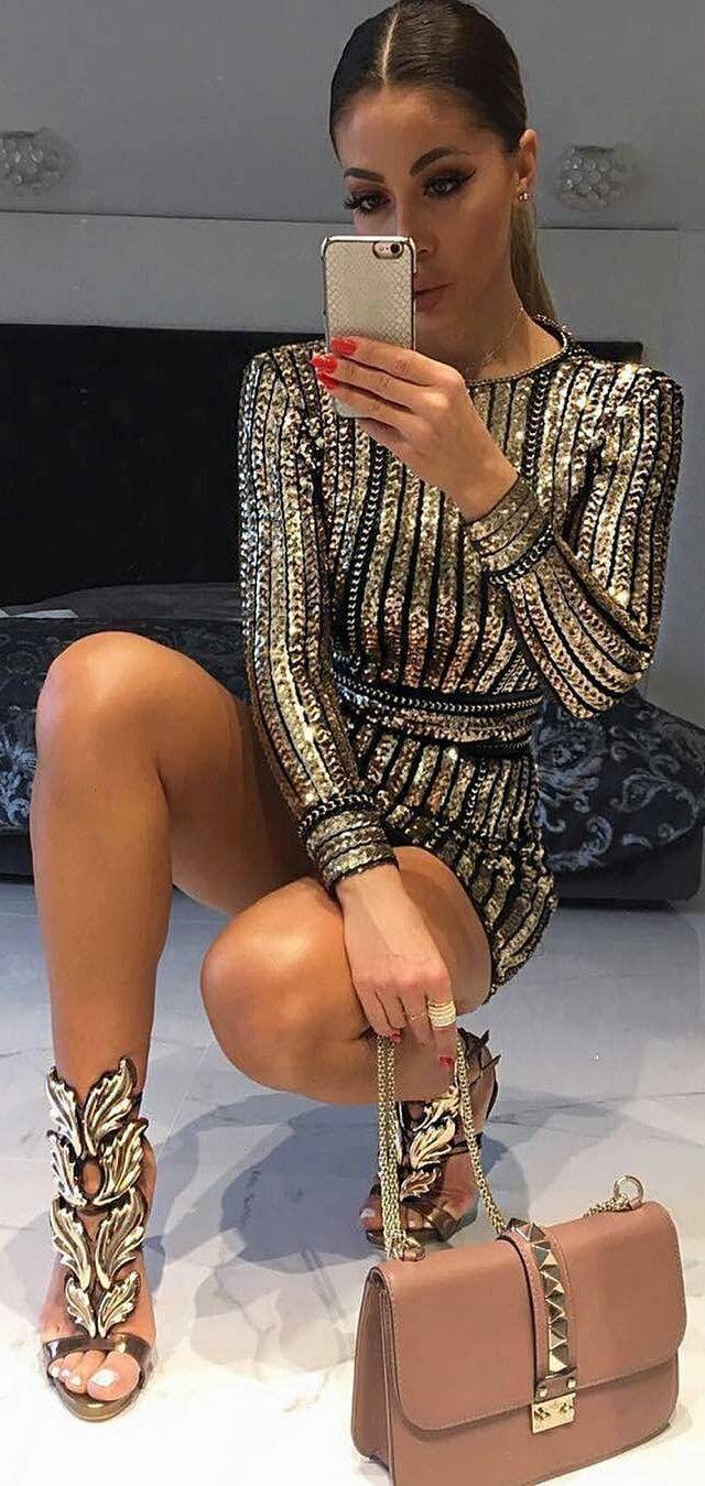 #winter #fashion /  Striped Sequins Dress / Brown Leather Shoulder Bag