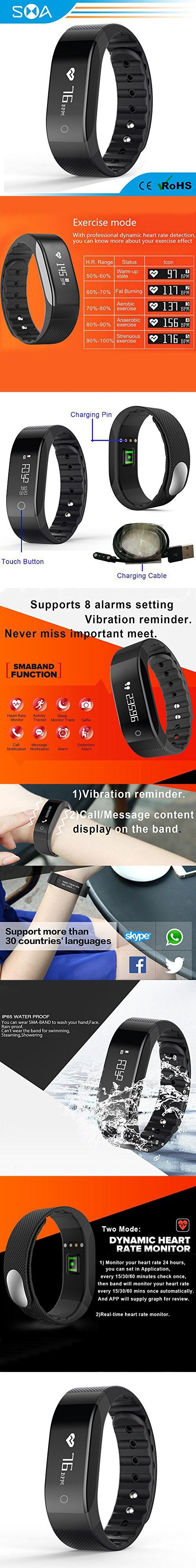 SMA Fitness Tracker with Heart Rate Monitor,Waterproof Wristband Watch,Smart Bracelet Compatible Iphone,Android phones men/women Black