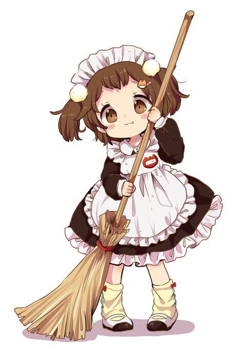 Manga Chibi Dienstmädchen mit Besen ... braune Augen ... zwei Zöpfchen