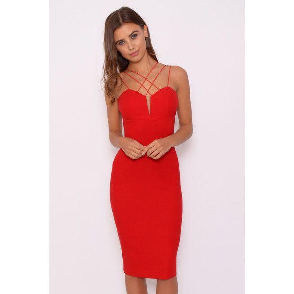 rare london red multi strap midi dress red dress gorgeous