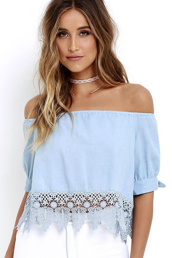 No Place Like Home Blue Chambray Lace Crop Top at Lulus.com!