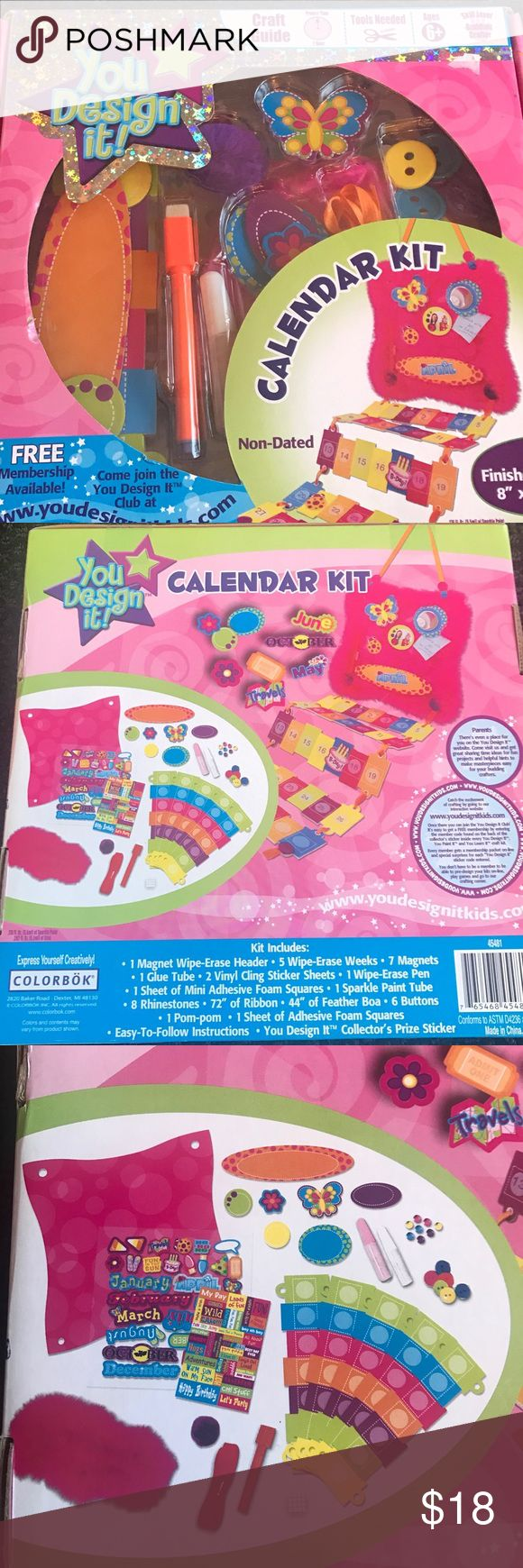 "⭐️YOU DESIGN IT! CALENDAR KIT ⭐️⭐️⭐️BRAND NEW⭐️⭐️⭐️  Express Yourself Creatively!   COLORBOK YOU DESIGN IT! CALENDAR KIT💕💕INCLUDES: 1 Magnet Wipe-Erase Header; 5 Wipe-Erase Weeks; 7 Magnets; 1 Glue Tube; 2 Vinyl Cling Sticker Sheets; 1 Wipe Erase Pen; 1 Sheet of Mini Adhesive Foam Squares;  1 Sparkle Paint Tube; 8 Rhinestones; 72"" of Ribbon; 44"" of Feather Boa; 6 Buttons; 1 Pom Pom; 1 Sheet of Adhesive Foam Squares.  Easy to follow instructions. You design it!! 💕💕💕Have fun!!!!!! 💕💕💕…"
