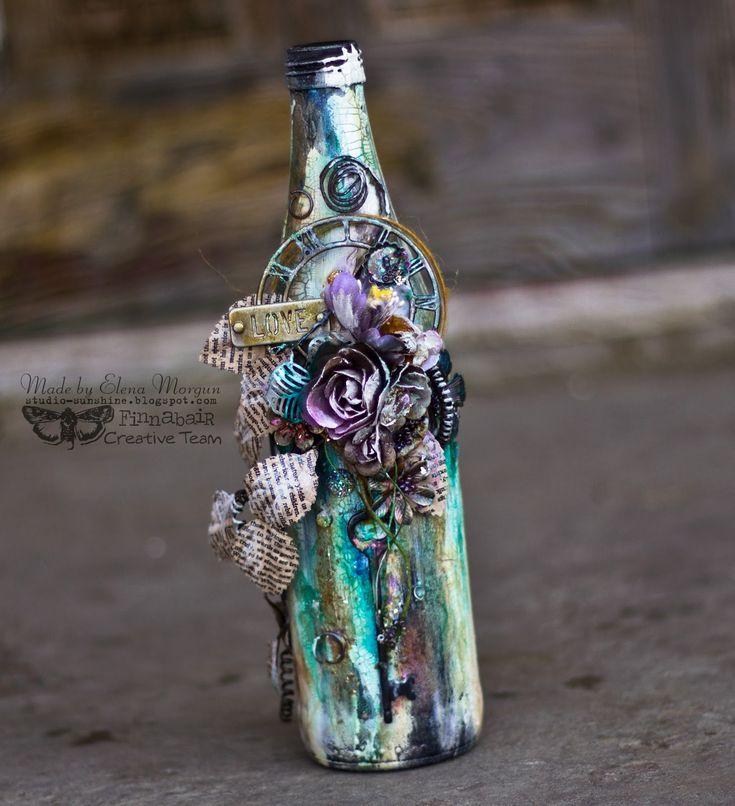 Sunshine Studio: Finnabair CT - Altered Art Bottle + video / Alter bottle + MC Video