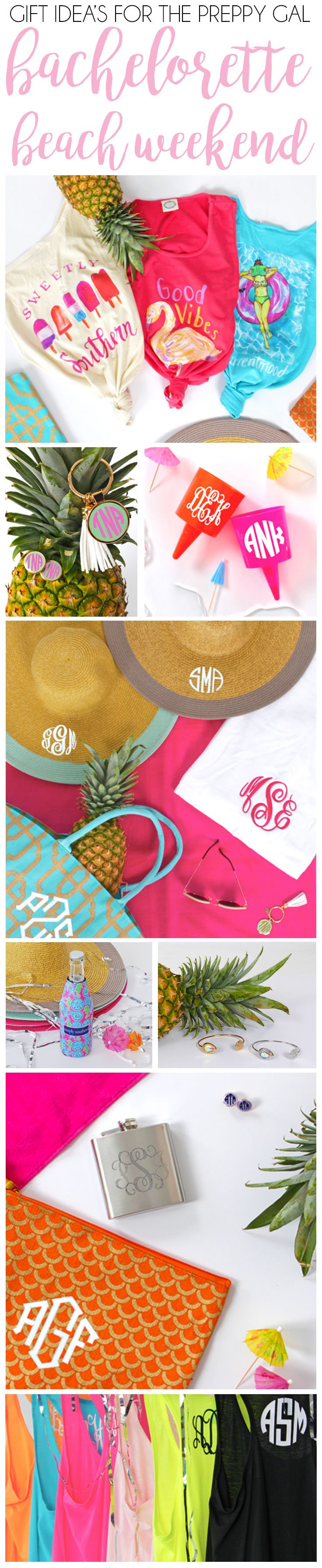 Planning a bachelorette trip? Check out these adorable personalized goodies from Marleylilly.com and Lakesidecotton.com that the bridal party is sure to love! #monogram #monograms #monogrammed #wedding #bachelorette #party #summer #beach #bride #preppy