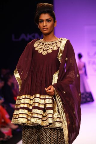 Purple Silk Mul Embroidered Kalidar Kurta and Embroidered Patiala Salwar. Shop The Look at http://www.payalsinghal.com/off-the-runway/afreen-suit