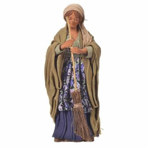 Frau mit Besen 30cm bewegliche Krippenfigur | Online Verfauf auf HOLYART