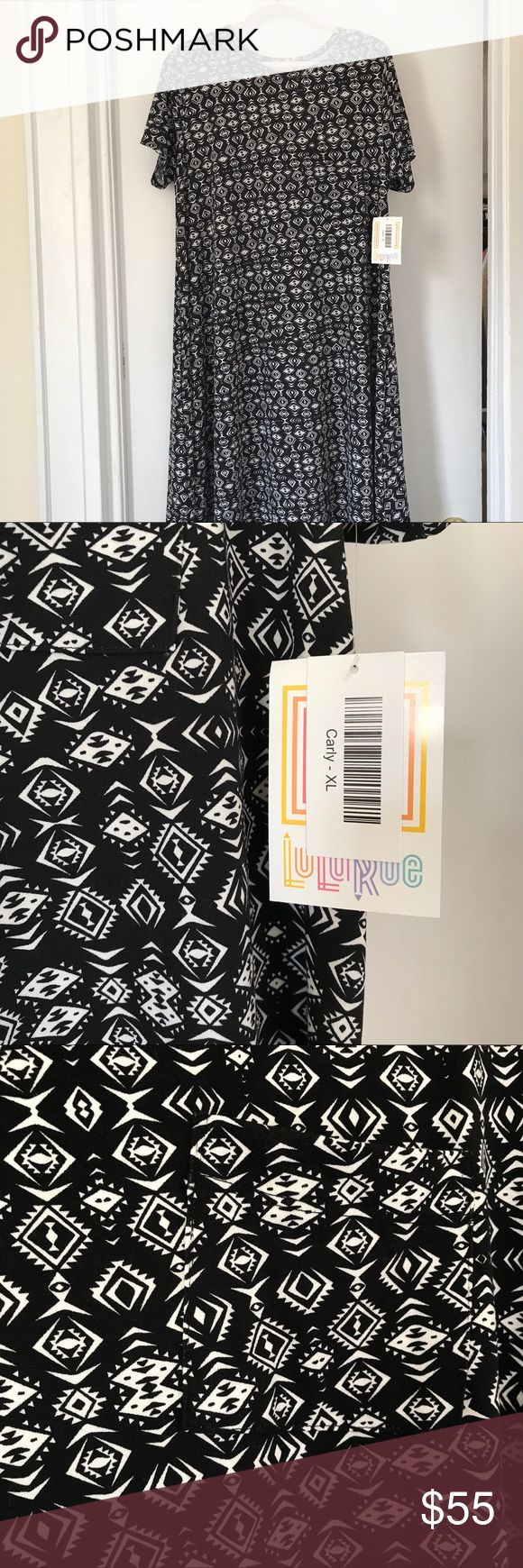 BNWT Lularoe XL Carly Black & White Dress BNWT Lularoe XL Carly Black & White Dress. Black background and white Aztec and Arrows design/ pattern. Gorgeous tee shirt swing dress with breast pockets and high low hemline. This will make an easy weekend brunch dress, casual office dress, or even a trendy beach cover up! Will fit plus due to generous sizing. Slight stretch. LuLaRoe Dresses Midi