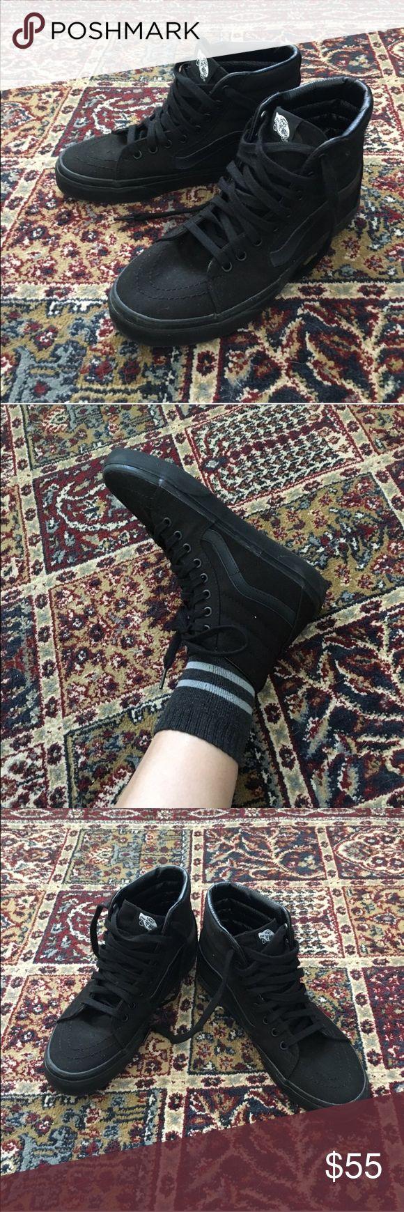 All black high top vans Barely worn all black vans skate highs. Women's size 8.5 and men's 7 #vans #skatehighs #allblack #sk8hi Vans Shoes Sneakers