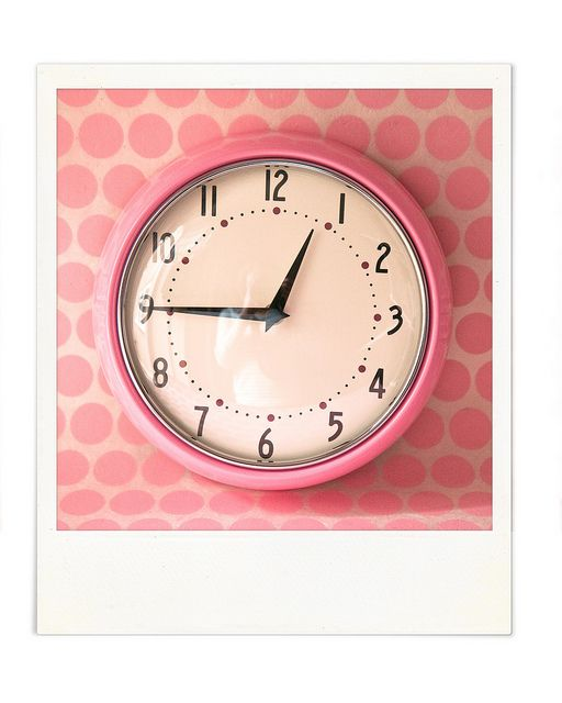 "This easy to read pink analog clock would graciously match the other items in my ""Dream Dorm Room"""