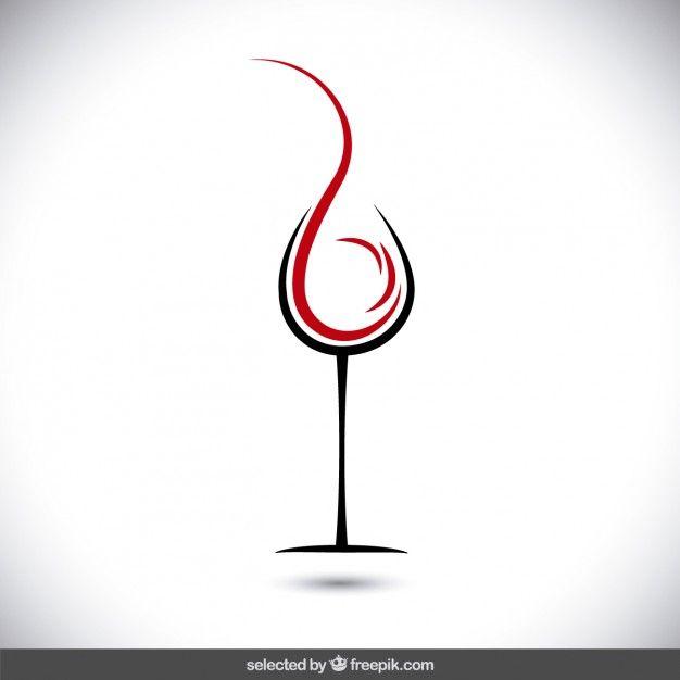 Résumé verre de vin logo Vecteur gratuit