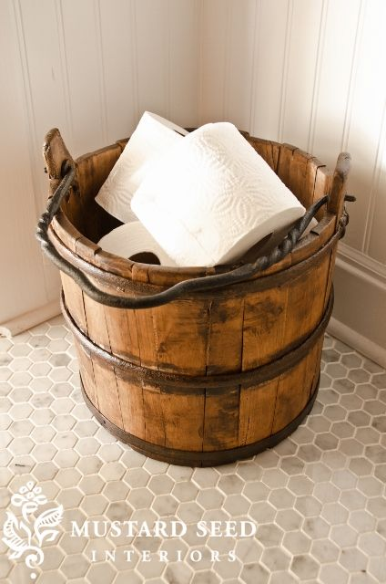 Vintage Bucket Repurposed for Storage