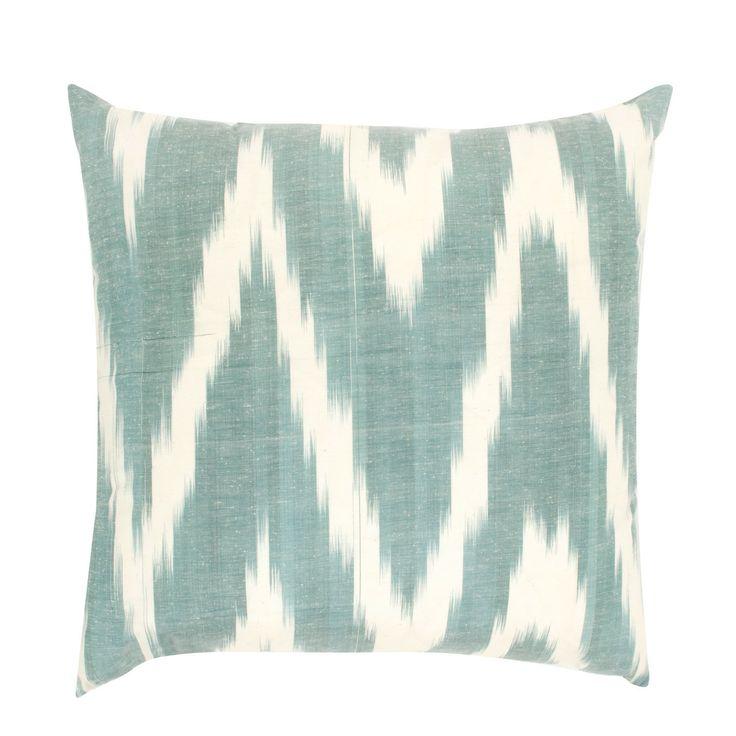 Ikat Cushion Cover Ash Green And London