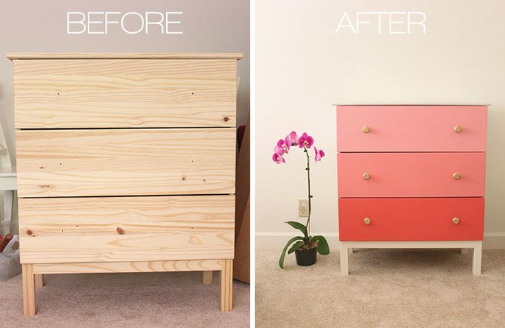 Repainting laminate furniture! Brilliant idea to revamp old furniture, especially from IKEA.