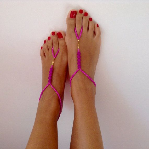 Purple Lilac Barefoot Sandals wedding Bikini by TSColorfulWorld