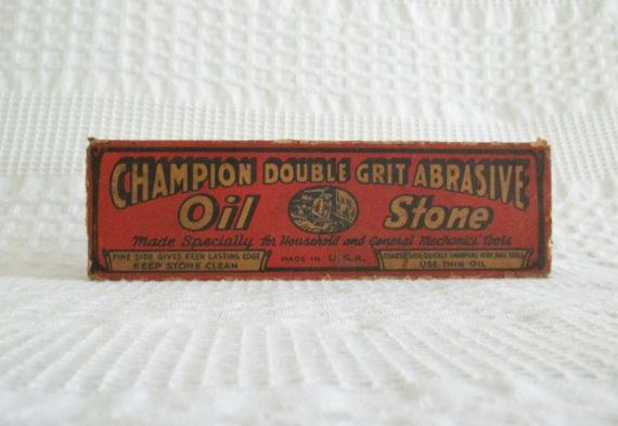 Vintage Champion Oil Stone, double grit to sharpen household knives and mechanic's tools. Made in U.S.A.