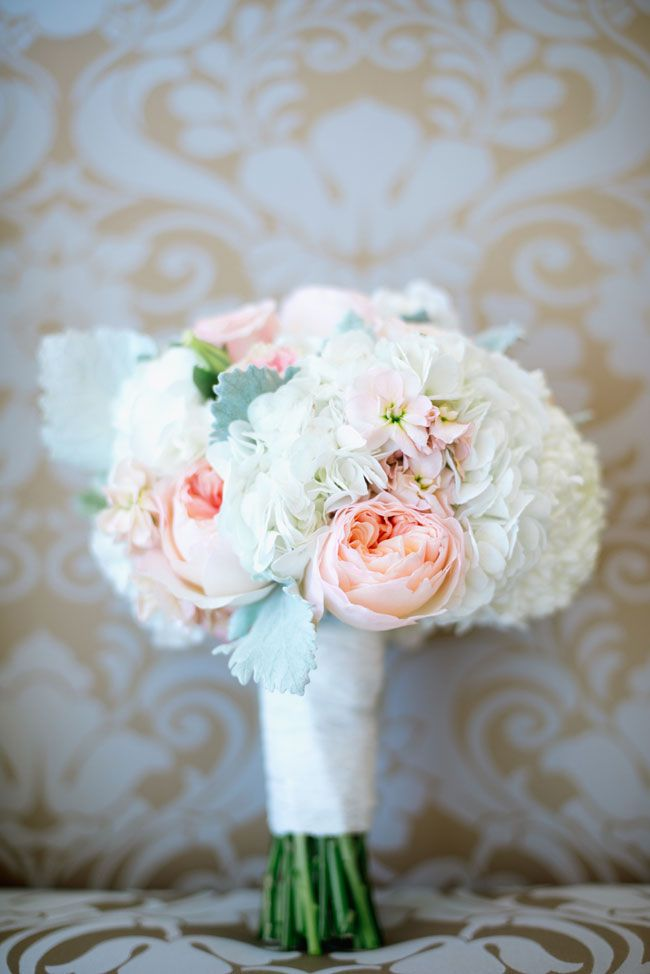 Soft romantic bouquet in ivory & blush with garden roses, hydrangea and dusty miller | New Jersey Mallard Island Yacht Club Upscale Nautical Wedding | Photograph by Off BEET Productions  http://storyboardwedding.com/new-jersey-mallard-island-yacht-club-nautical-wedding/