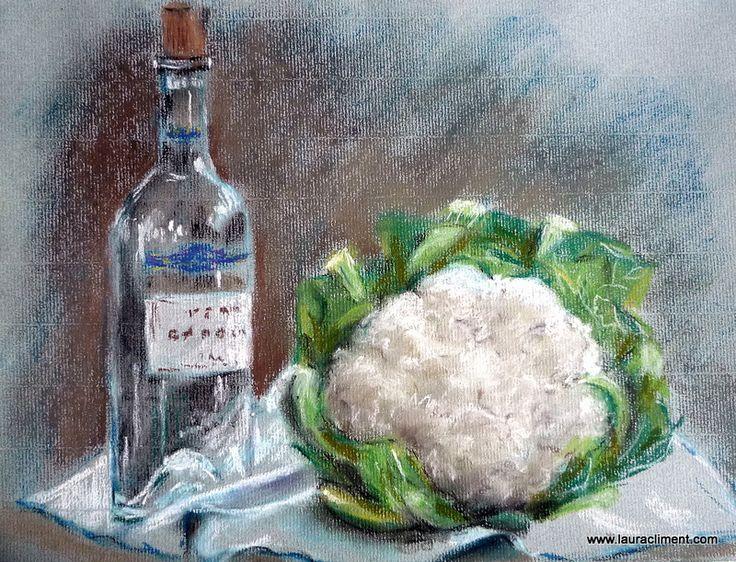 Bottle and cauliflower (Pastel)
