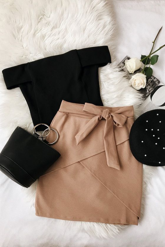 off the shoulder with cross pattern and bow on skirt 11