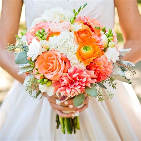 Coral and White Bridal Bouquet | W Studios New York | TheKnot.com