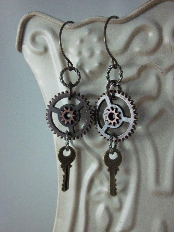 Steampunk Earrings keys by skyejewels on Etsy, $18.00