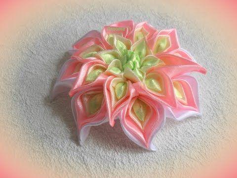Цветы из лент, своими руками, канзаши, МК - YouTube