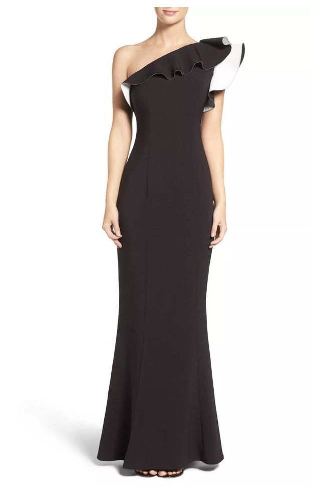 95d9ec5c6ff Maria Bianca Nero One Shoulder Colorblock Gown Size 2 #fashion #clothing  #shoes #accessories #womensclothing #dresses (ebay link)