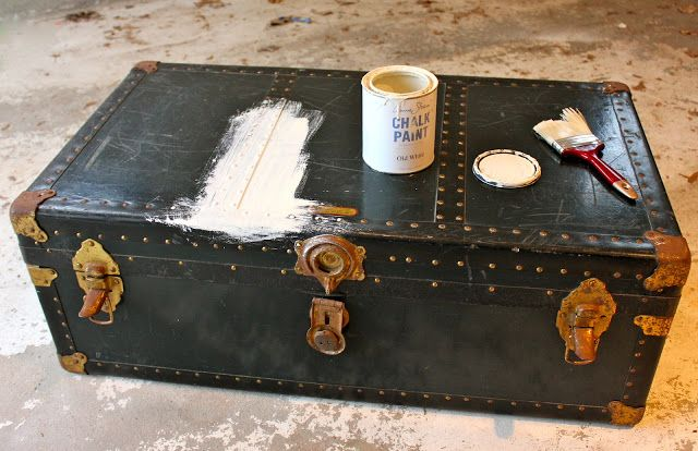 My Passion For Decor: Neglected Steamer Trunk Makeover. I may have to do this someday with our trunk!