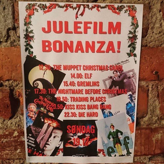 I morgen rigger vi til i kjelleren og viser julefilmer HELE dagen! #bd57bar #bd57 #brewdog #julefilmbonanza #christmas #movies #muppets #diehard #tradingplaces #gremlins #elf #kisskissbangbang #nightmarebeforechristmas