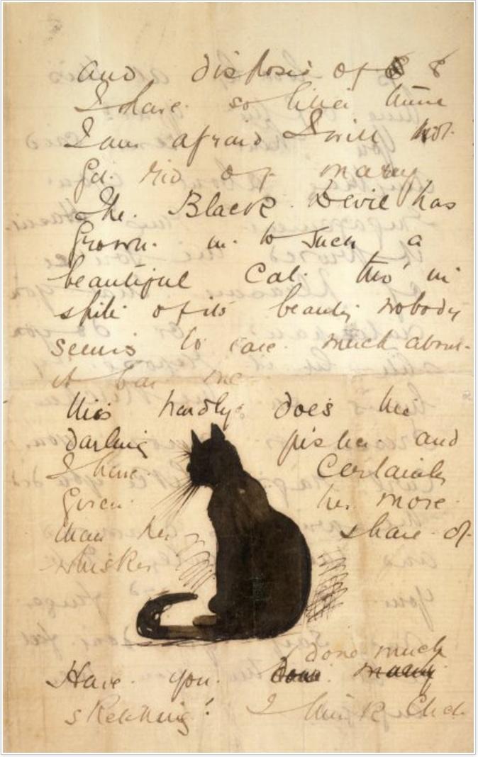 Frances Hodgkins' letter to Isabel Hodgkins featuring the Black Devil, her cat   7 May 1892