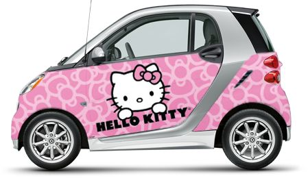 The Hello Kitty smart car! smart USA and Sanrio®, two of the most iconic brands have come together to offer custom wrap designs as part of the smart Expressions program. Made of 3M vinyl, the wraps come with a 3-year warranty.