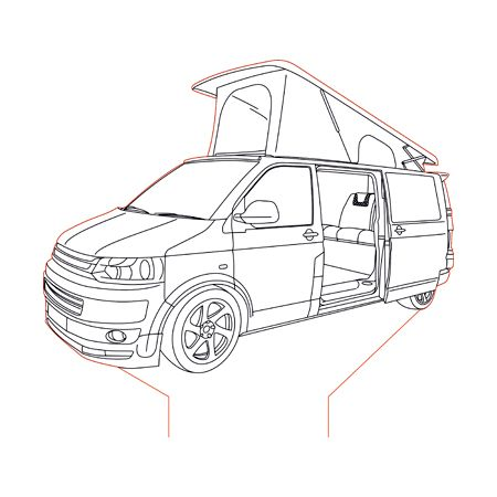 Vw Transporter T5 Campervan 3d Illusion Lamp Plan Vector File