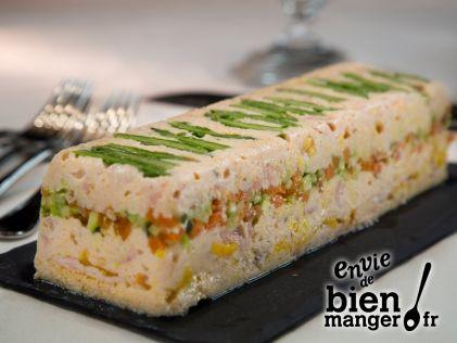 Terrine de saumons et langoustines aux petits légumes