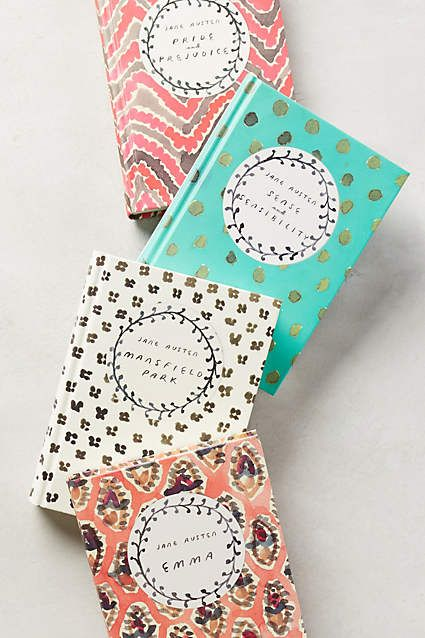 Graphic artist Leanne Shapton's signature painterly patterns grace the covers of four classic Jane Austen novels, giving us an oh-so-pretty excuse to re-read them.