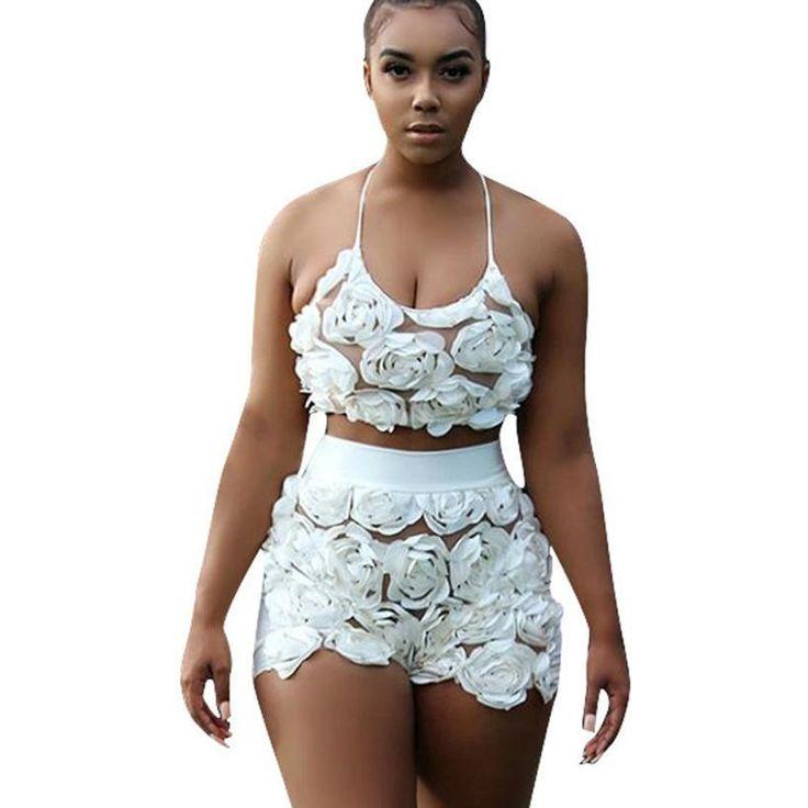 2 Piece Set White Rose Vest & Short Set
