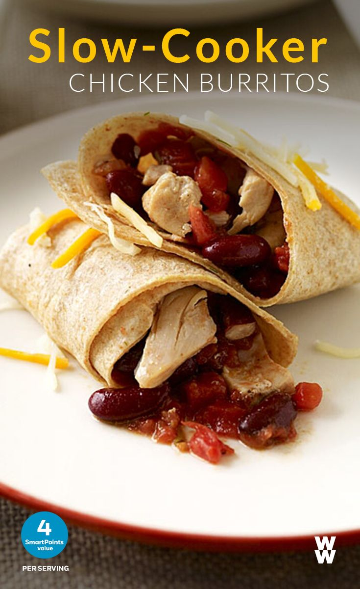 Slow-Cooker Chicken Burritos: 4 SmartPoints value | Wow your  guests at your next dinner party with this super simple, spicy one pot dish recipe topped with shredded Weight Watchers Mexican cheese.