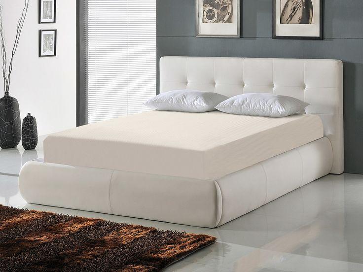 : Matières : Structure du lit : bois d'eucalyptus Revêtement : polyuréthane Sommier : lattes multiplis en bois avec cadre métal Dimensions totales pour un couchage en 140...