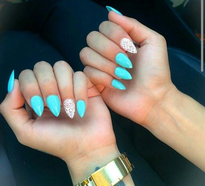 turquoise pointed nails