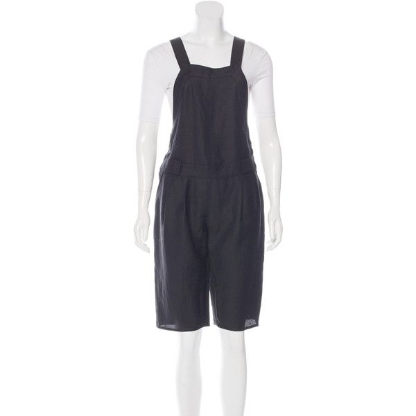 Pre-owned Proenza Schouler Overall Pleated Romper ($145) ❤ liked on Polyvore featuring jumpsuits, rompers, black, proenza schouler, playsuit romper, sleeveless romper, sleeveless rompers and bib overalls