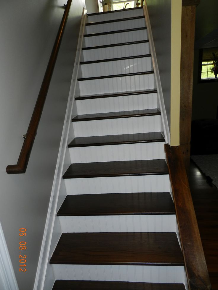 paint stair risers accent color the finished staircase we had the stain custom matched to our. Black Bedroom Furniture Sets. Home Design Ideas