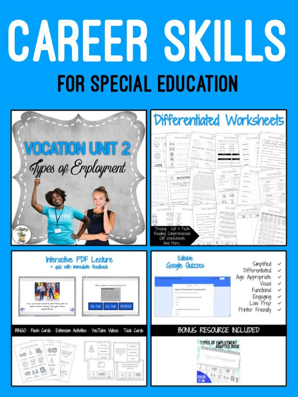 Career Skills Unit 2 Types Of Employment Vocational Skills Life Skills Special Education Life Skills Activities Vocational skills worksheets