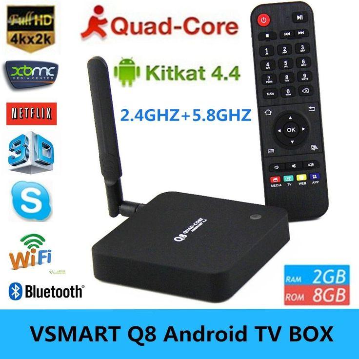 Vsmart Q8 RK3288 2.4G/5GHz WiFi Android TV BOX Quad Core 2GB/8GB Support 4K*2K H.265 3D Bluetooth 4.0 XBMC Player IPTV Mini PC