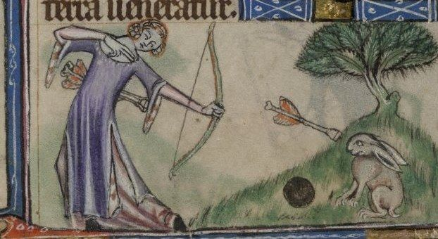 Taymouth Hours, 1325-40 English. Short(er), side-split surcotte with ickle tippets. That arrow looks field legal.